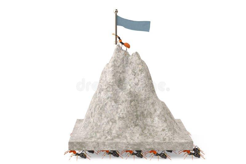 Um grupo de formigas que movem a montanha ilustração 3D ilustração royalty free