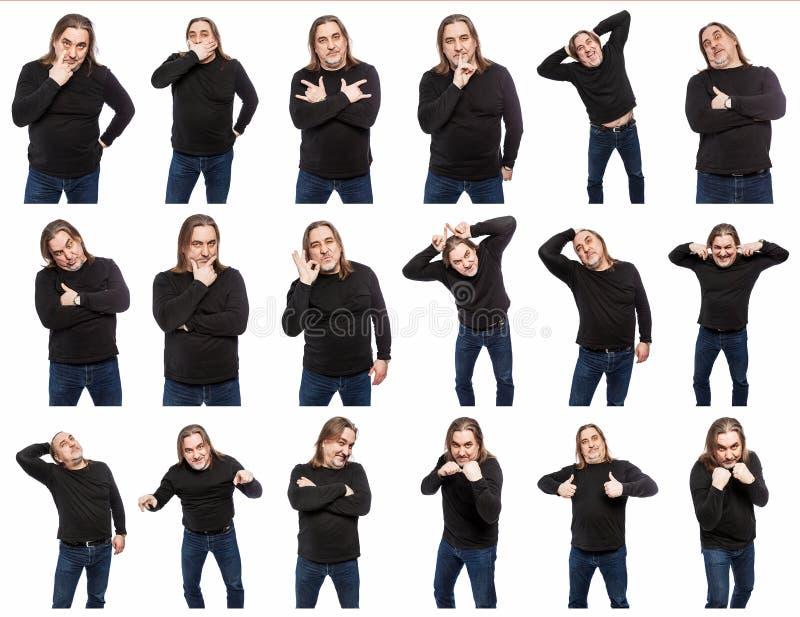 Um grupo de fotos de um homem de meia idade em v?rias poses e emo??es Uma colagem do isolado nas imagens de fundo brancas fotografia de stock royalty free