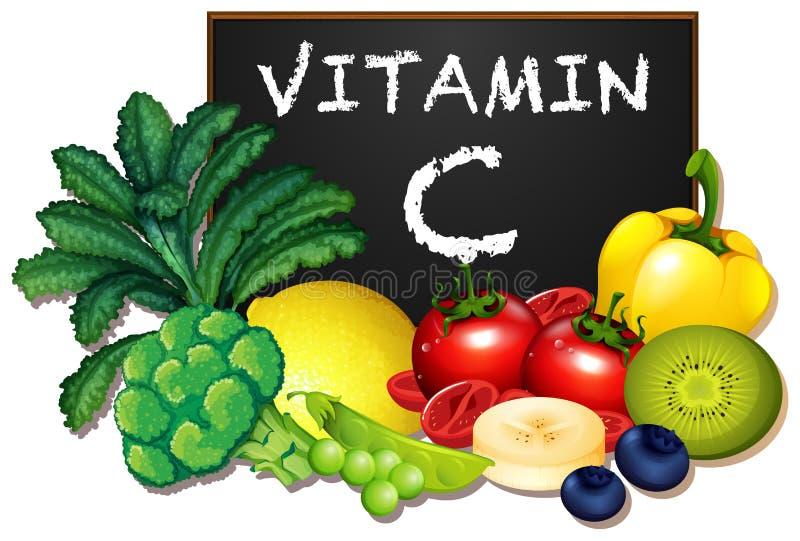 Um grupo de frutas e legumes da vitamina C ilustração do vetor