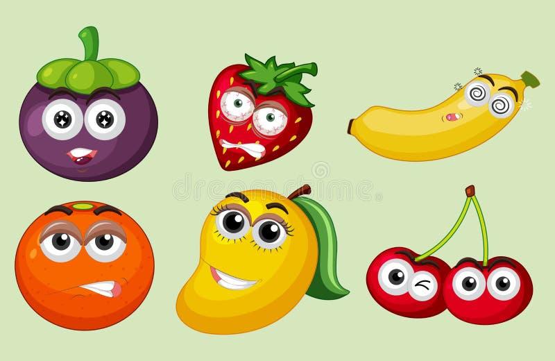 Um grupo de fruto tropical ilustração do vetor
