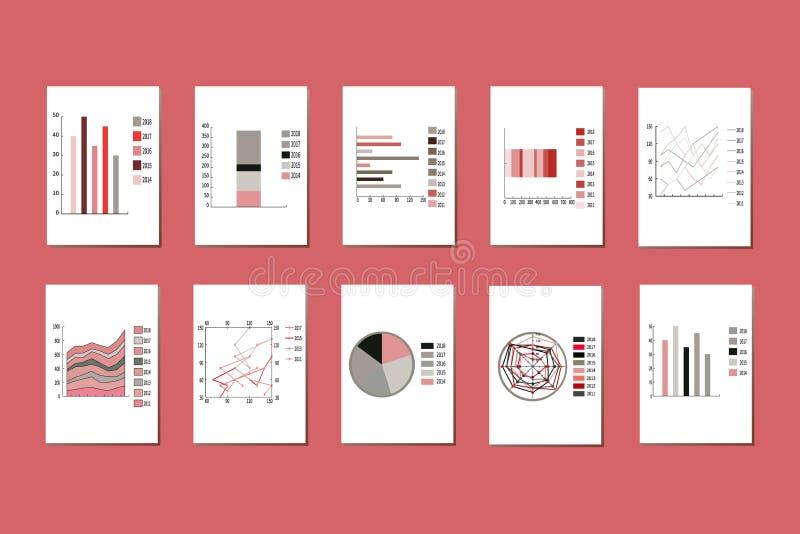 Um grupo de gráficos, de cartas, de gráfico de setores circulares e de diagramas ilustração royalty free