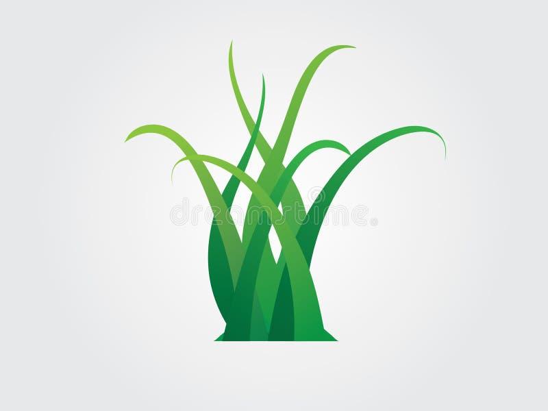 Um grupo de grama verde colorida planta o logotipo ilustração stock