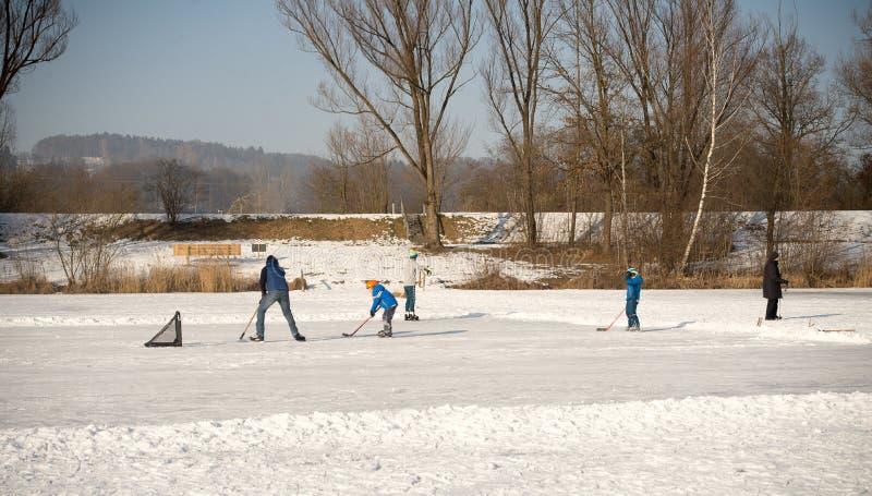 Um grupo de hóquei em gelo do jogo de crianças fotos de stock royalty free