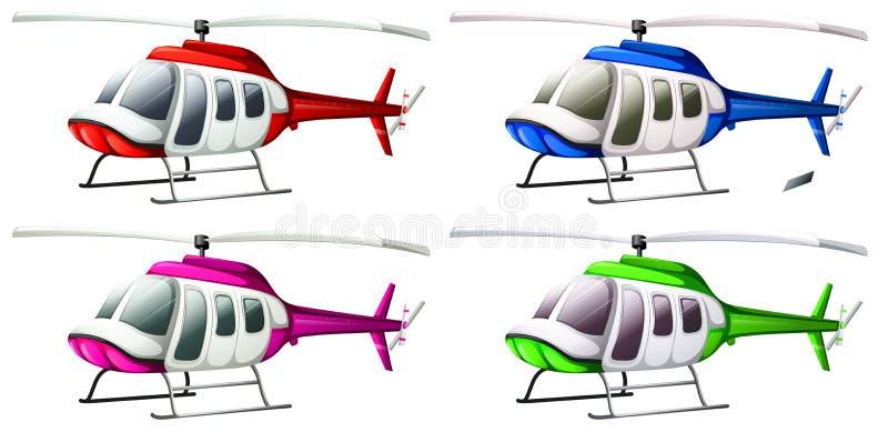 Um grupo de helicópteros ilustração do vetor