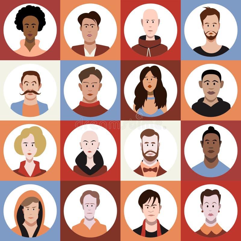 Um grupo de homem diverso e de avatars fêmeas ilustração stock