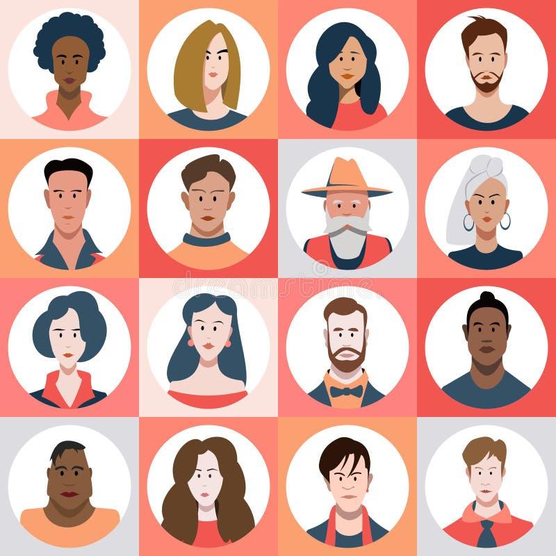 Um grupo de homem diverso e de avatars fêmeas ilustração royalty free