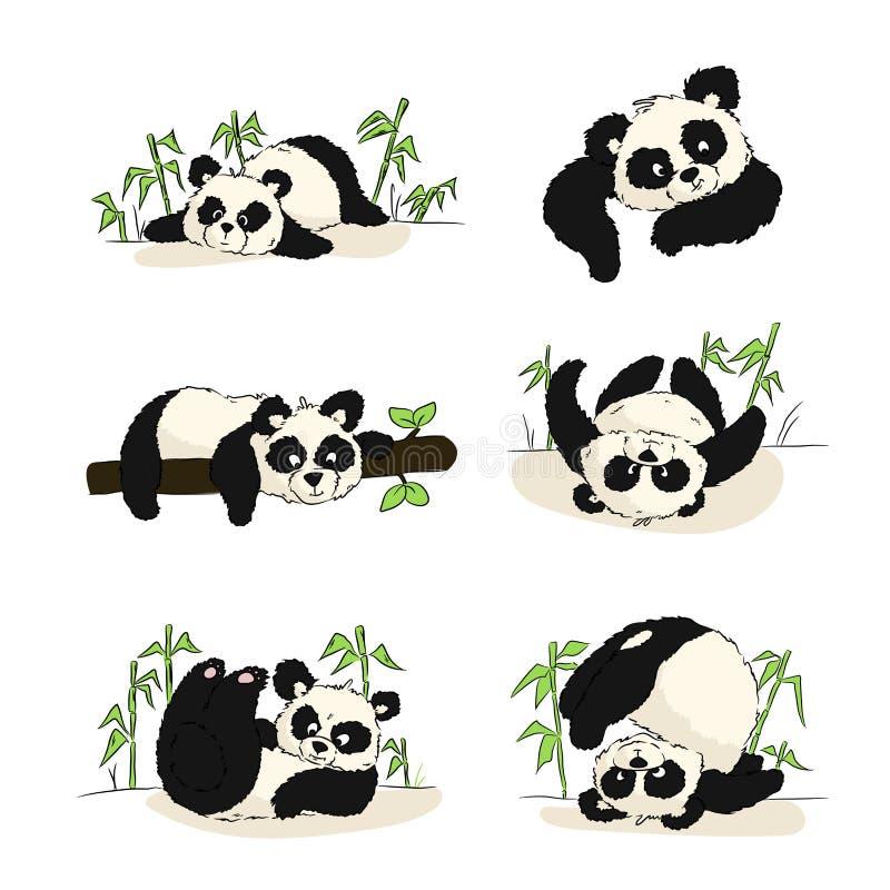 Um grupo de ilustrações com um filhote da panda ilustração do vetor
