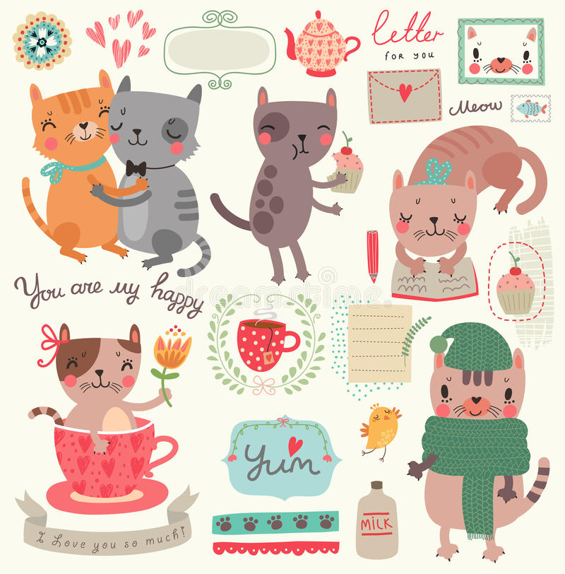 Um grupo de ilustrações com gatos bonitos ilustração royalty free