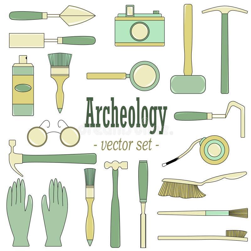 Um grupo de ilustrações do vetor para arqueólogos e geólogos ilustração royalty free