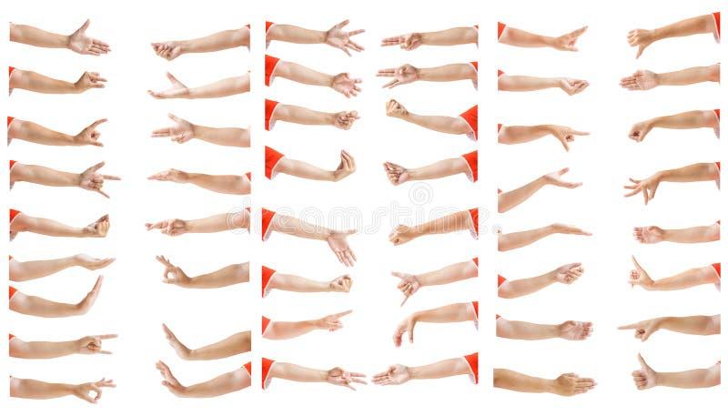 Um grupo de imagem múltipla de gestos de mão fêmeas asiáticos caucasianos isolado sobre o fundo branco Com cuidado entalhe pela f fotografia de stock royalty free