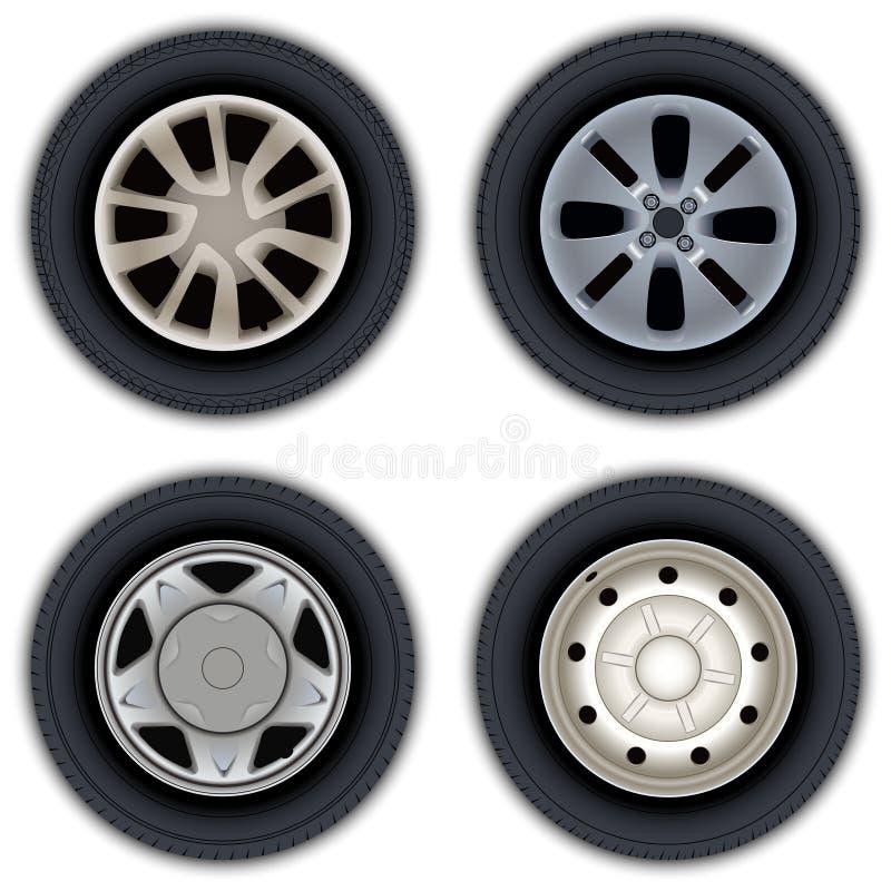 Um grupo de imagens das rodas e dos pneus dos carros imagens de stock