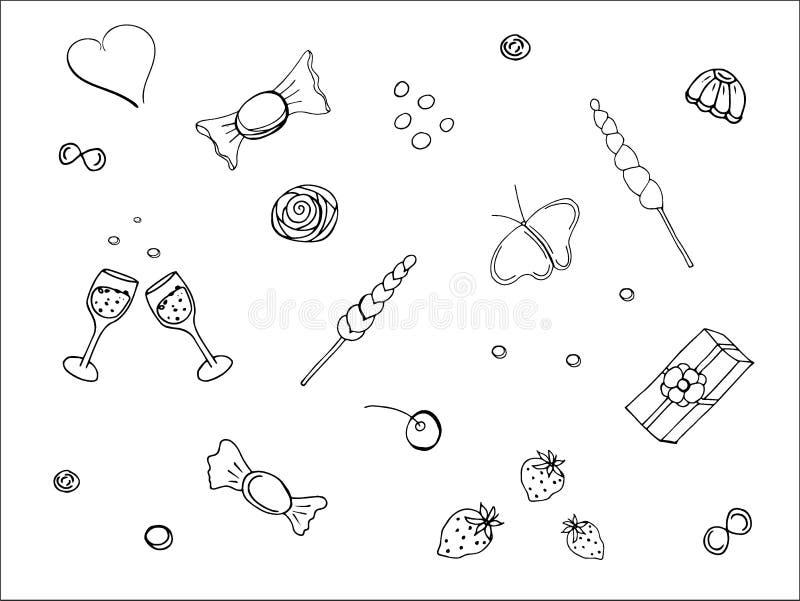 Um grupo de imagens em rabiscar o estilo no tema do amor, feito nas cores preto e branco, isoladas em um fundo branco ilustração stock