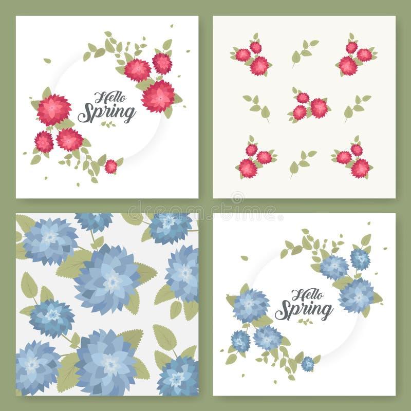 Um grupo de insetos, folhetos, moldes projeta Cartões do vintage com testes padrões e ornamento de flor Decorações florais ilustração royalty free