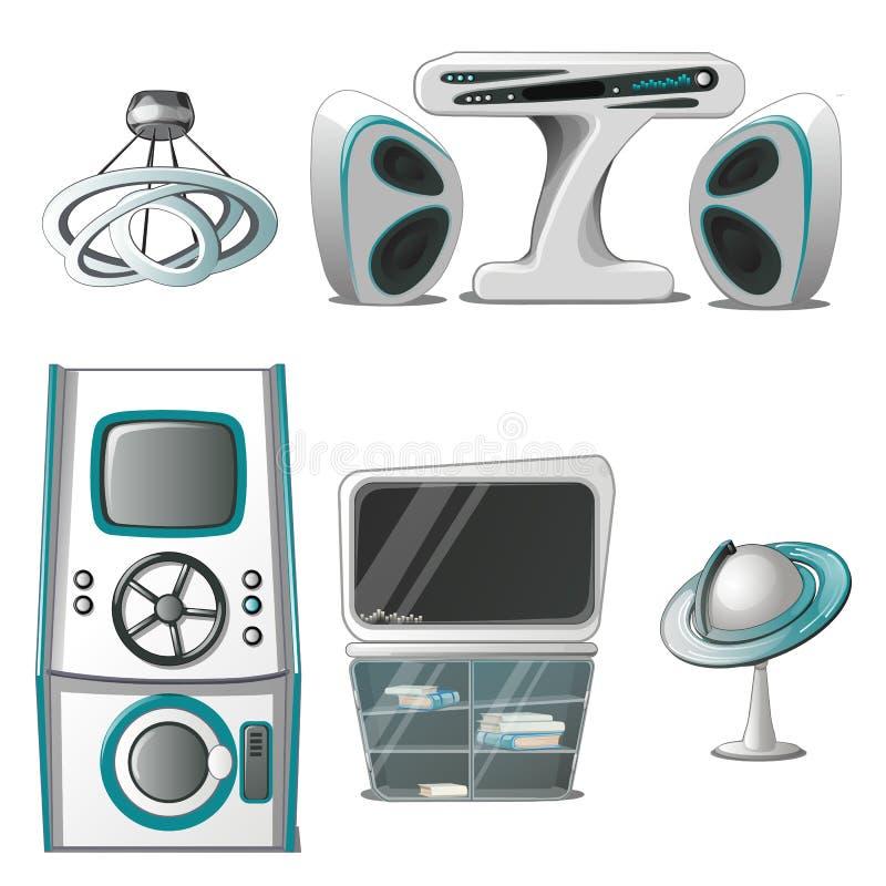 Um grupo de interior e de equipamentos eletrônicos na elevação - estilo da tecnologia isolados no fundo branco Design de interior ilustração do vetor