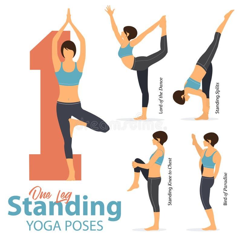 Um grupo de ioga postures figuras fêmeas para a ioga de Infographic 5 em poses eretas de um pé no projeto liso A mulher figura o  ilustração do vetor