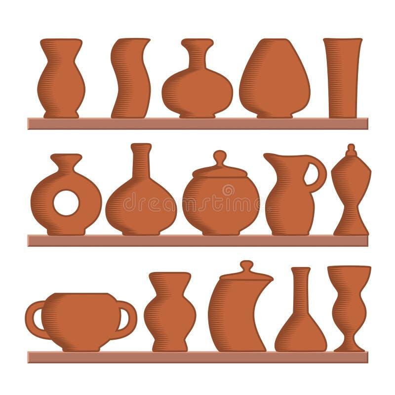 Um grupo de jarros e de vasos da argila ilustração royalty free