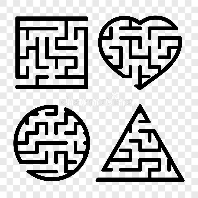 Um grupo de labirintos Jogo para mi?dos Enigma para crian?as Enigma do labirinto Encontre o trajeto direito Ilustra??o do vetor ilustração do vetor