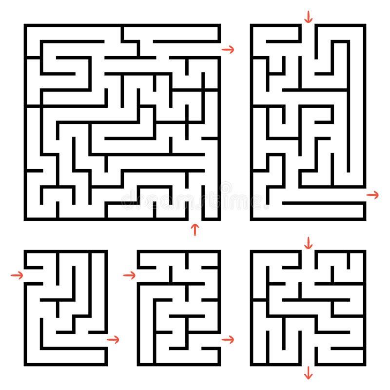 Um grupo de labirintos quadrados e retangulares com entrada e saída Ilustração lisa simples do vetor isolada no fundo branco ilustração stock