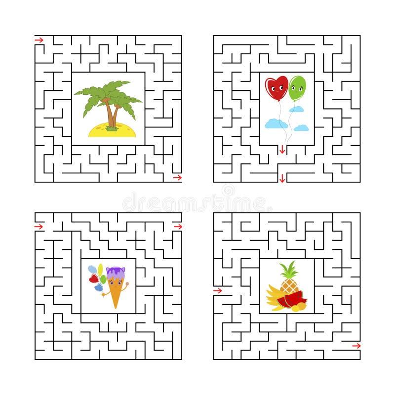 Um grupo de labirintos quadrados Jogo para miúdos Enigma para crianças Um extasia, uma saída Enigma do labirinto Ilustração lisa  ilustração stock