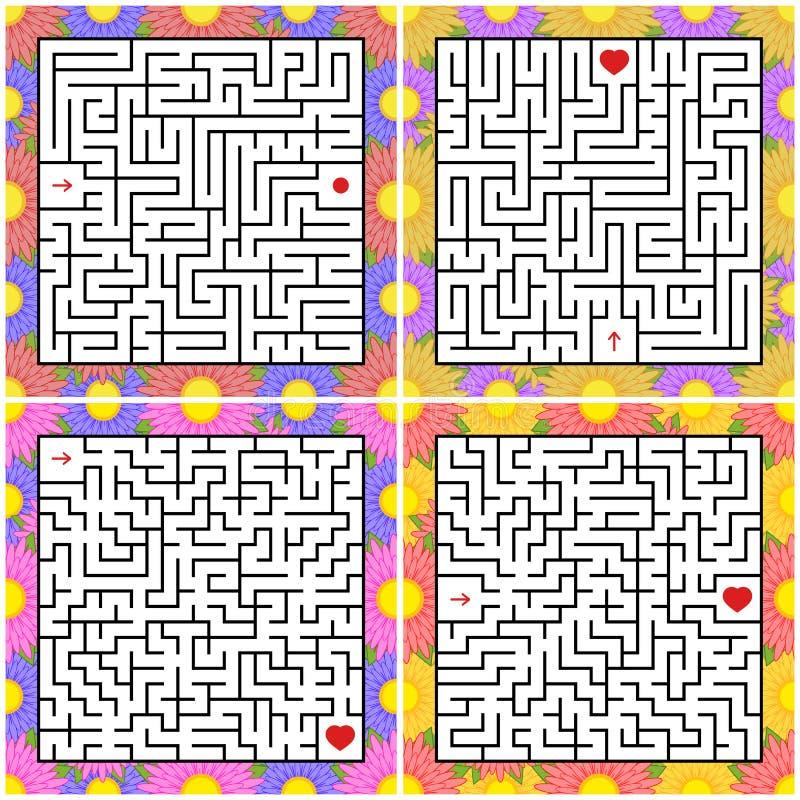Um grupo de labirintos quadrados Jogo para miúdos Enigma para crianças Um extasia, uma saída Enigma do labirinto Ilustração lisa  ilustração do vetor