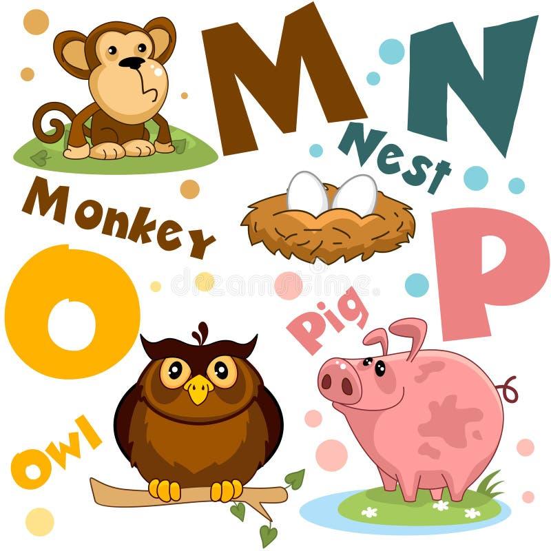 Um grupo de letras com imagens dos animais, palavras do alfabeto inglês Para a educação das crianças Partido 4 ilustração royalty free