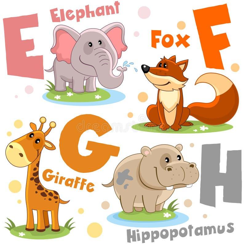 Um grupo de letras com imagens dos animais, palavras do alfabeto inglês Para a educação das crianças Partido 2 ilustração royalty free