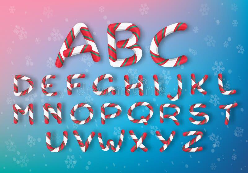 Um grupo de letras multi-coloridas do caramelo A fonte brilhante de ano novo do vetor Alfabeto listrado dos desenhos animados ilustração royalty free