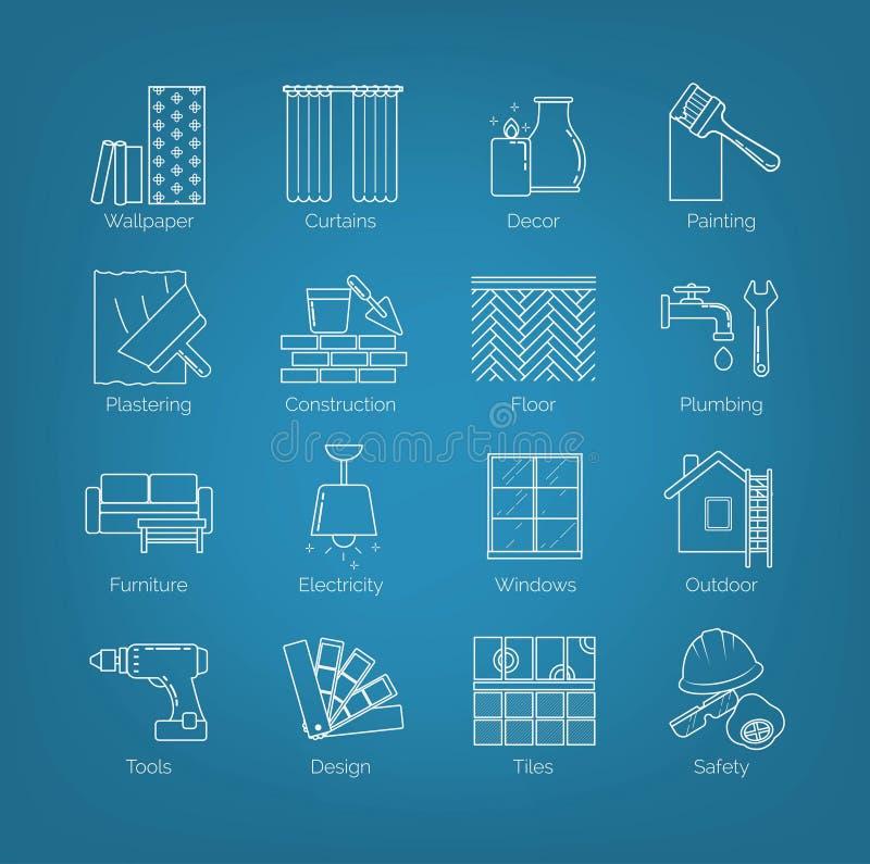 Um grupo de linha fina ícones para o projeto da casa, reparo, construção, decoração, renovação Incluindo pedágios, atividades e ilustração do vetor
