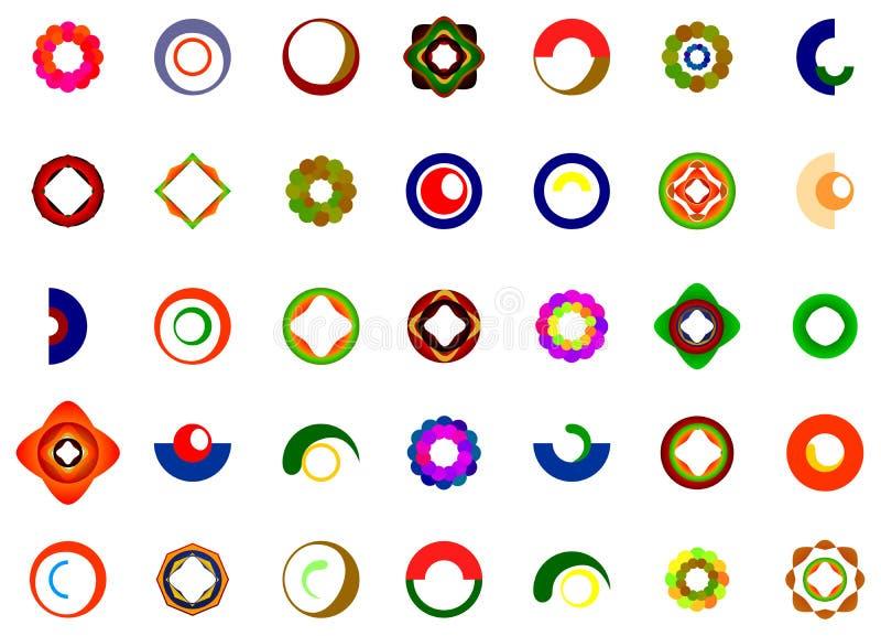Um grupo de logotipos, de ícones e de elementos gráficos ilustração royalty free