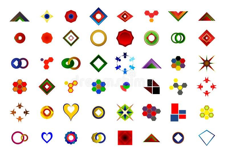 Um grupo de 48 logotipos e ícones ilustração royalty free