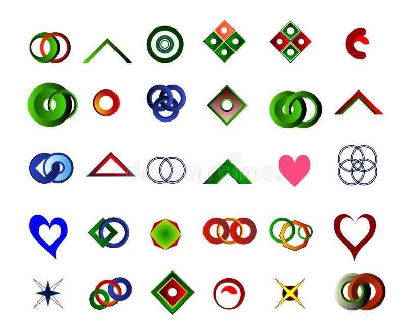Um grupo de 30 logotipos e ícones ilustração stock