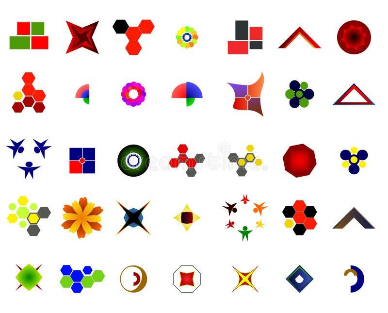 Um grupo de 35 logotipos e ícones ilustração do vetor
