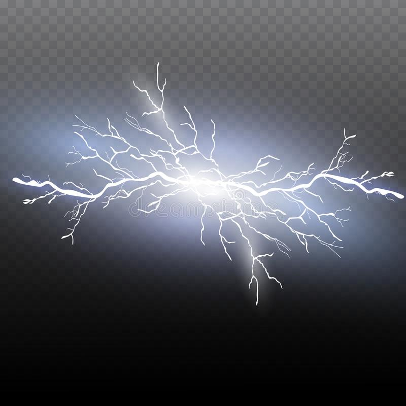 Um grupo de mágica do relâmpago e de efeitos da luz brilhantes Ilustração do vetor Corrente elétrica da descarga ilustração do vetor
