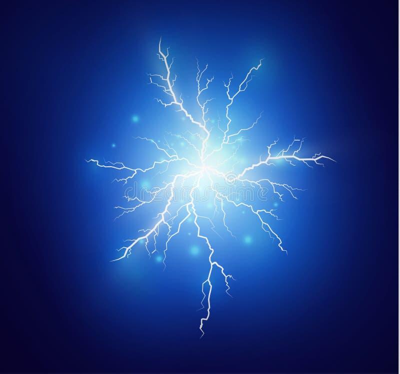 Um grupo de mágica do relâmpago e de efeitos da luz brilhantes Ilustração do vetor Corrente elétrica da descarga Corrente de carg ilustração stock