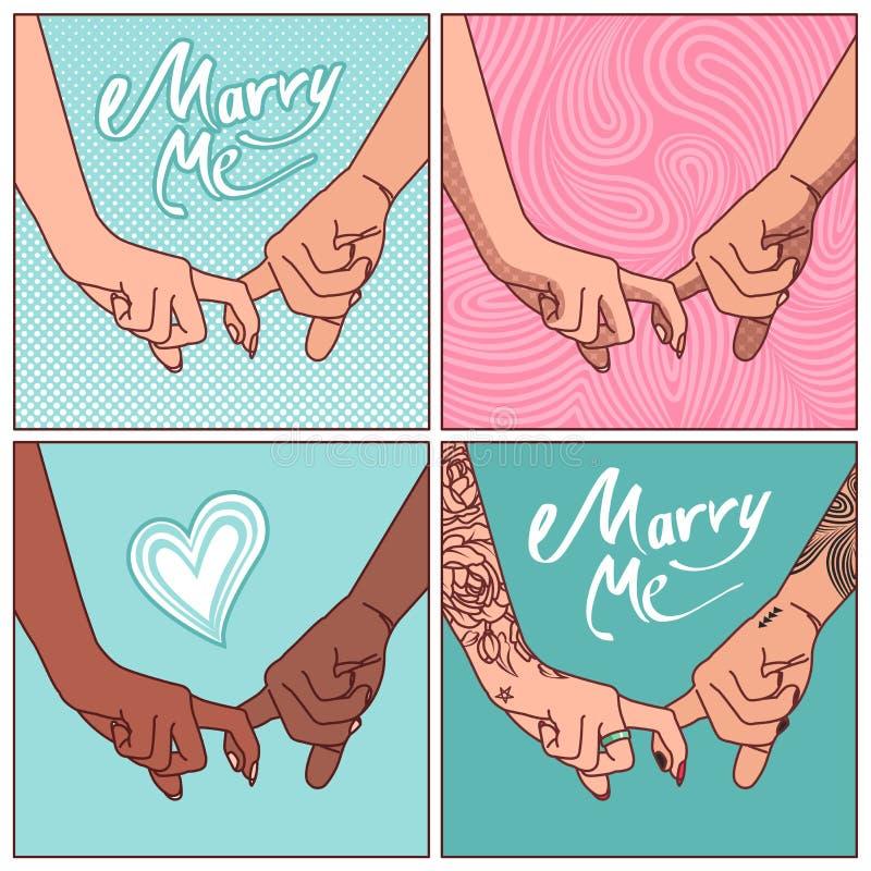 Um grupo de mãos ligadas com seus indicadores Pares novos no amor ilustração do vetor