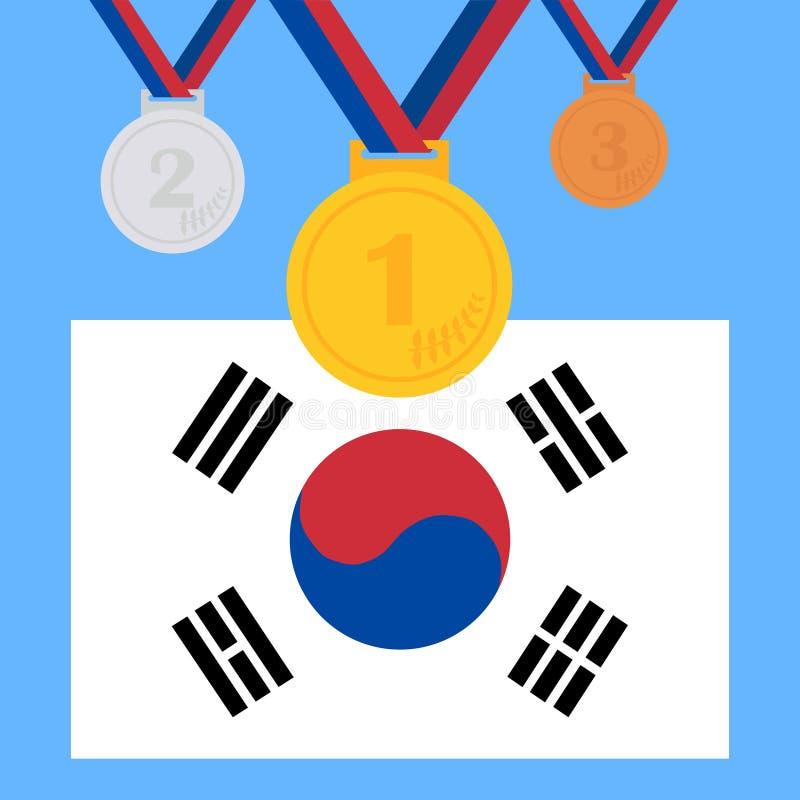 Um grupo de medalhas dos esportes Medalhas olímpicas Um grupo de troféus olímpicos ilustração stock