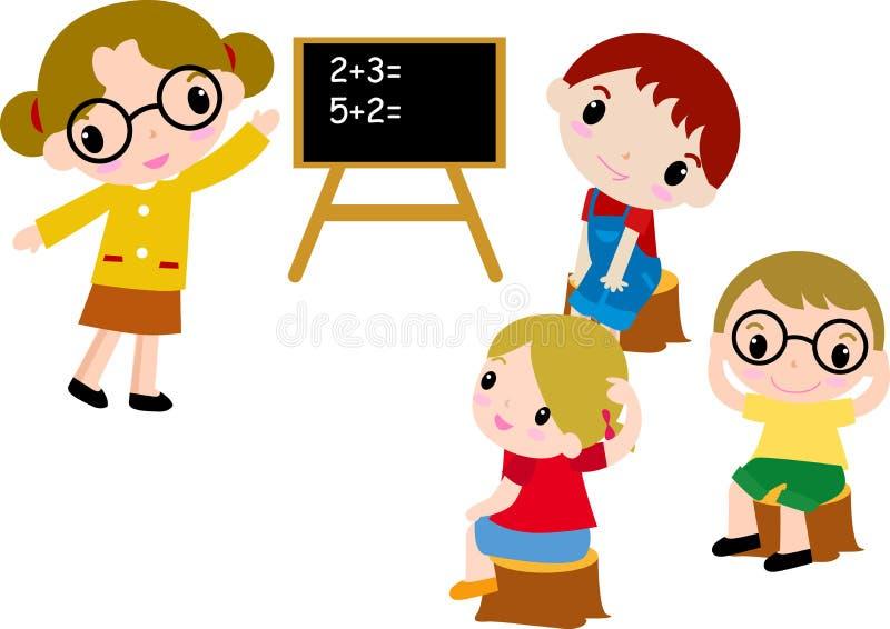 Um grupo de miúdos da escola da matemática ilustração royalty free