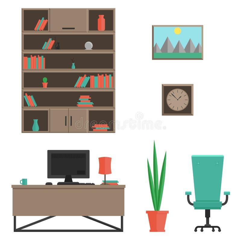 Um grupo de mobília para o armário no estilo moderno Ilustração lisa do vetor o interior da sala ilustração stock