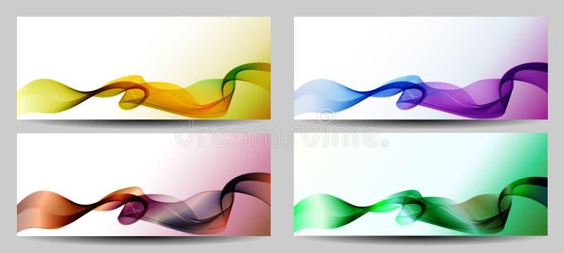Um grupo de moldes coloridos das bandeiras da Web Abstraia fundos ilustração do vetor