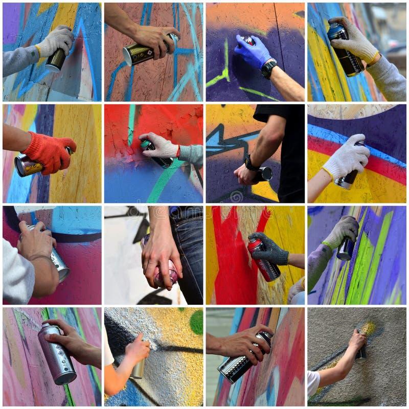 Um grupo de muitas imagens pequenas das mãos com as latas da pintura no proce imagem de stock royalty free