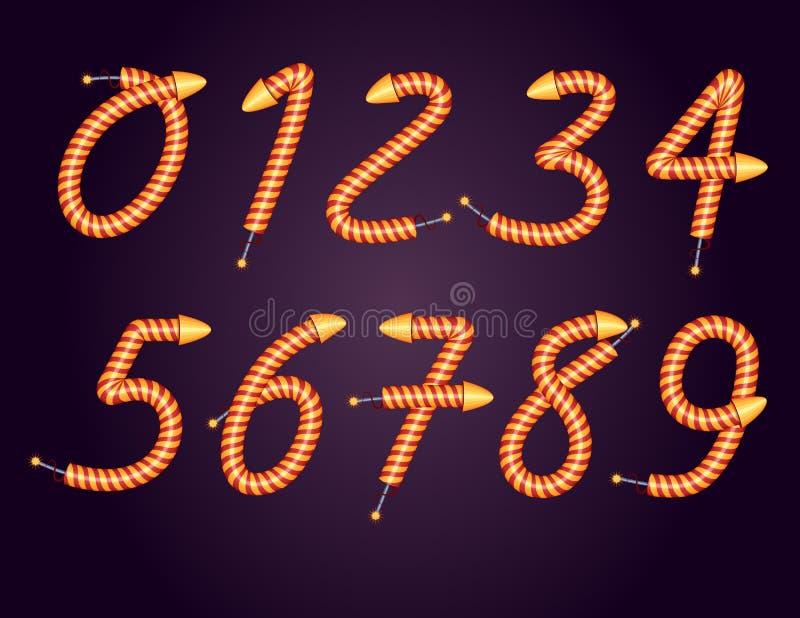 Um grupo de números de 0 a 9 para criar projetos festivos da bandeira ilustração royalty free