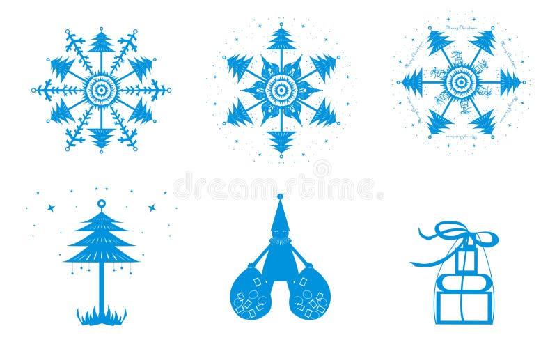 um grupo de neve do Natal ilustração do vetor