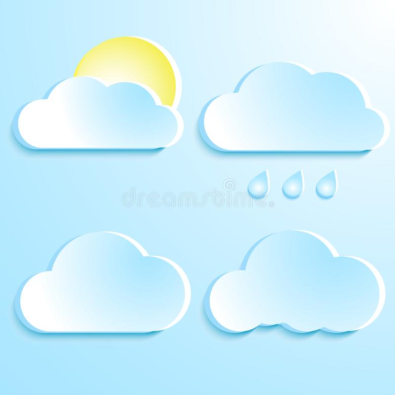 Um grupo de nuvens Nuvens azuis com sombra Tempo Pingos de chuva e ilustração royalty free