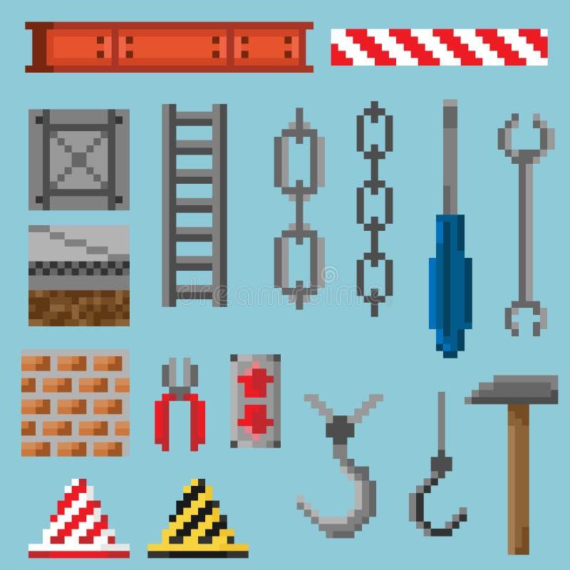 Um grupo de objetos e de ferramentas do pixel foto de stock royalty free