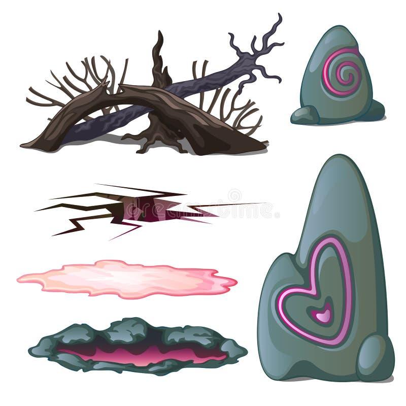 Um grupo de objetos geological e os elementos dos animais selvagens isolados no fundo branco Ilustração do vetor ilustração royalty free