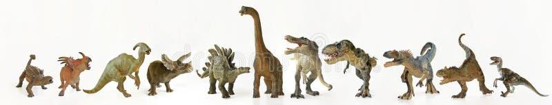 Um grupo de onze dinossauros em seguido fotos de stock royalty free