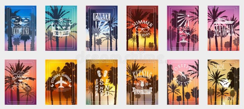 Um grupo de 12 opções para cartazes com palmeiras Para que todas as ocasiões relaxem Para a propaganda, vendas, descontos, oferta ilustração royalty free