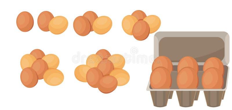 Um grupo de ovos marrons, um grupo dos ovos em números diferentes - um a sete ilustração do vetor
