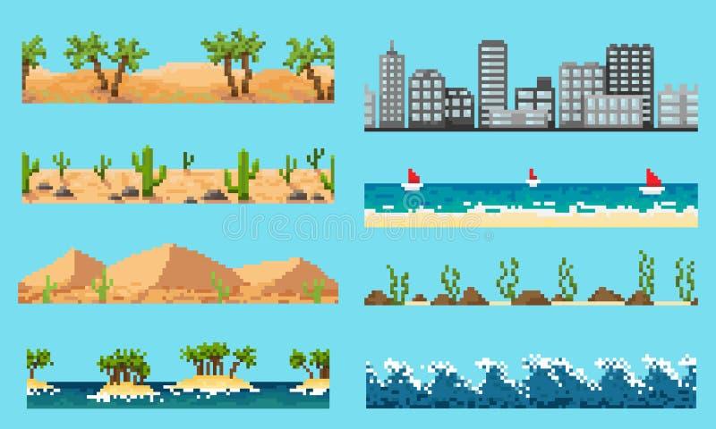 Um grupo de paisagem sem emenda do elemento do pixel ilustração royalty free