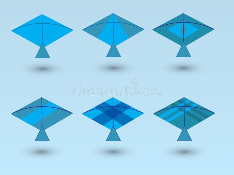 Um grupo de papagaios azuis para o jogo de crianças com projetos diferentes no fundo azul ilustração stock